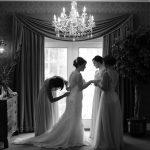 bridesmaids getting bride reasy